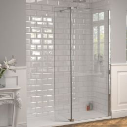 Kudos 8mm Ultimate 2 Wet Room Glass Fold Away Deflector Panel Right Hand 300mm