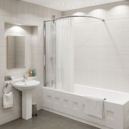 Kudos Inspire Over Bath Shower Panel with Curved Shower Curtain Rail