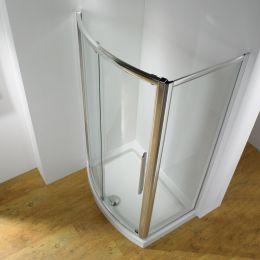 Kudos Original Bowed Sliding Shower Enclosure 1200 x 700 with Concept 2 Shower Tray