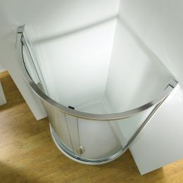 Kudos Original Curved Sliding Shower Enclosure Side Access 910 x 910 with Concept 2 Shower Tray
