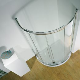 Kudos Original Offset Curved Sliding Shower Enclosure Centre Access 1000 x 810 with Concept 2 Shower Tray Right Hand