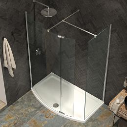 Kudos Ultimate 2 8mm Curved Walk In Shower Enclosure 1700 x 700 with Shower Tray