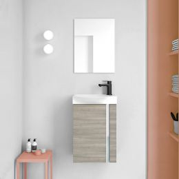 Royo Elegance Wall Hung Vanity Unit with Basin & Mirror Sandy Grey 450mm Lifestyle