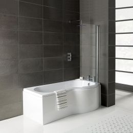 Prymo P Shape Shower Bath 1500 x 850 with Panel & Screen Right Hand Roomset