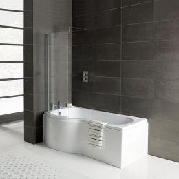 Prymo Reinforced P Shape Shower Bath 1500 x 850 with Panel & Screen Left Hand