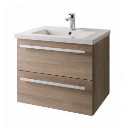 Purity Wall Hung 2 Drawer Vanity Unit & Basin Oak 600