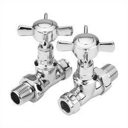 Reina Bronte Straight Radiator Valves Chrome