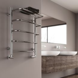 Reina Elvo Polished Stainless Steel Designer Towel Radiator 530 x 660mm