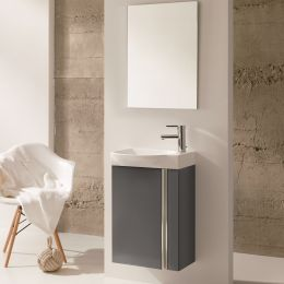 Royo Elegance Wall Hung Vanity Unit with Basin & Mirror Anthracite 450mm Roomset