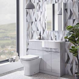 Tavistock Match Furniture Run & Basin Light Grey Gloss 1000mm Right Hand