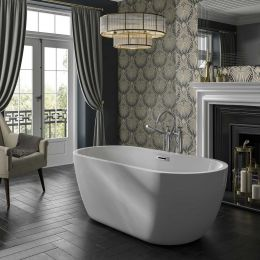 Trojan Alcora Freestanding Double Ended Bath 1555 x 745 with Waste roomset
