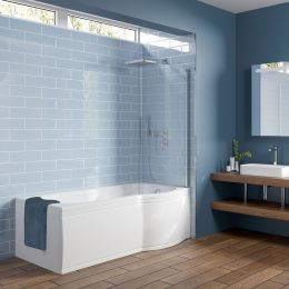 Concert Reinforced P Shape Shower Bath 1600 x 850 with Panel & Screen Right Hand