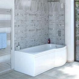 Trojancast Concert Reinforced P Shape Shower Bath 1700 x 850 with Panel & Screen Right Hand