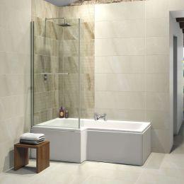 Elite L Shape Shower Bath 1675 x 850 with Panel & Screen Left Hand