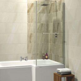 Trojan Elite / Solarna L Shape Shower Bath Screen & Rail