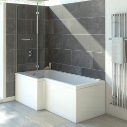 Solarna L Shape Shower Bath 1500 x 850 with Panel & Screen Left Hand