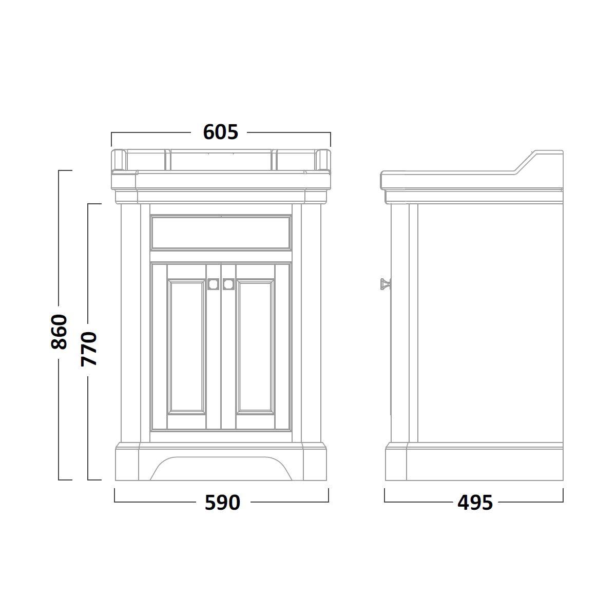 Tavistock Vitoria Vanity Unit & Two Tap Hole Basin White 600mm Dimensions