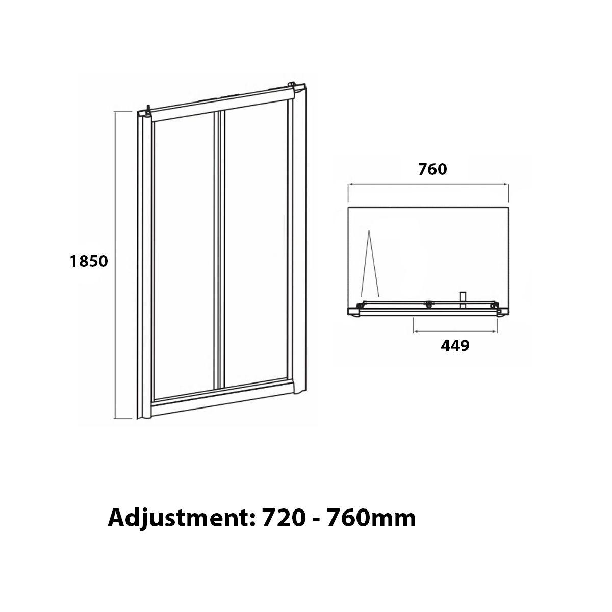 Coral 6mm Bifold Shower Door 760mm Dimensions 1