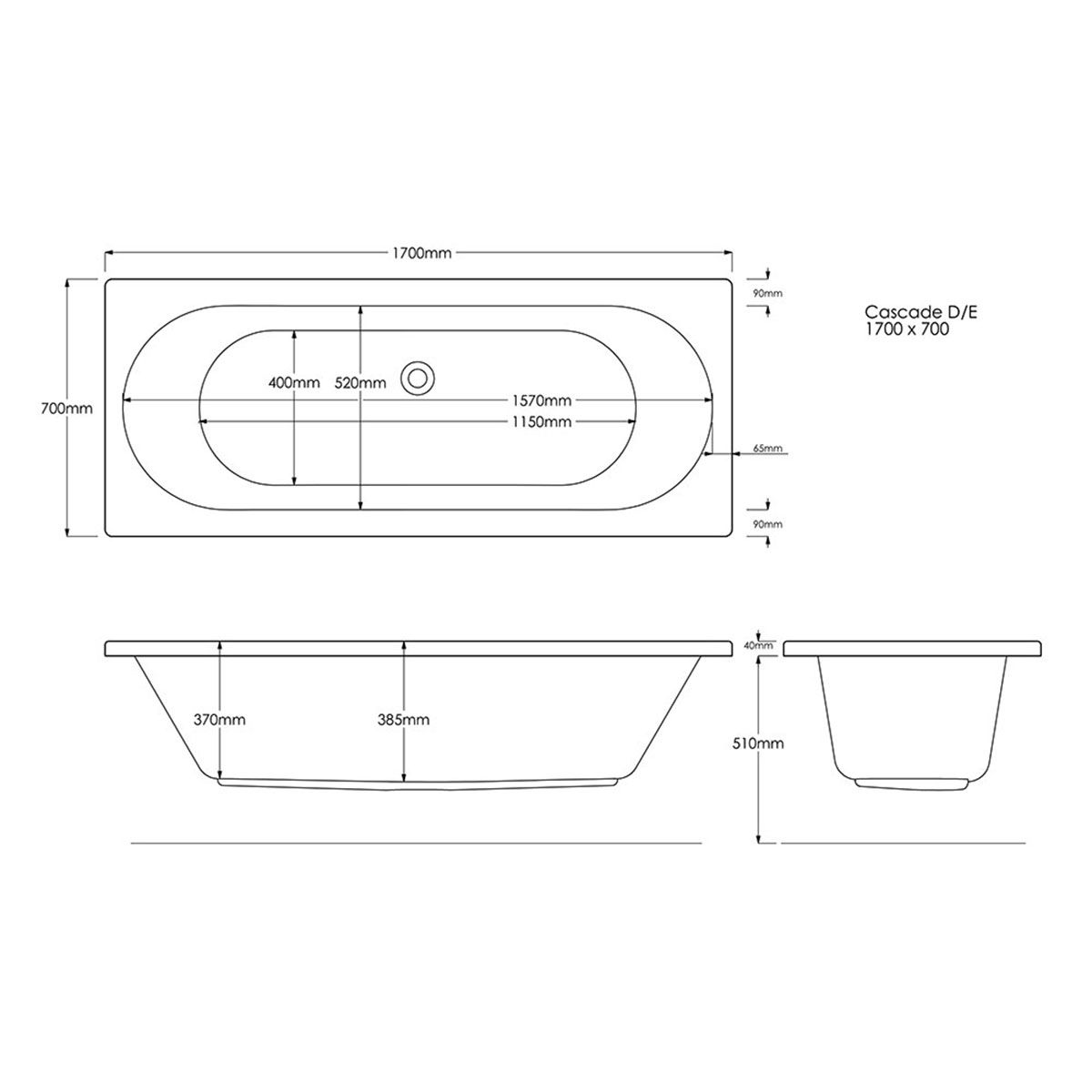 Trojan Cascade Double Ended Bath 1700 x 700 Dimensions
