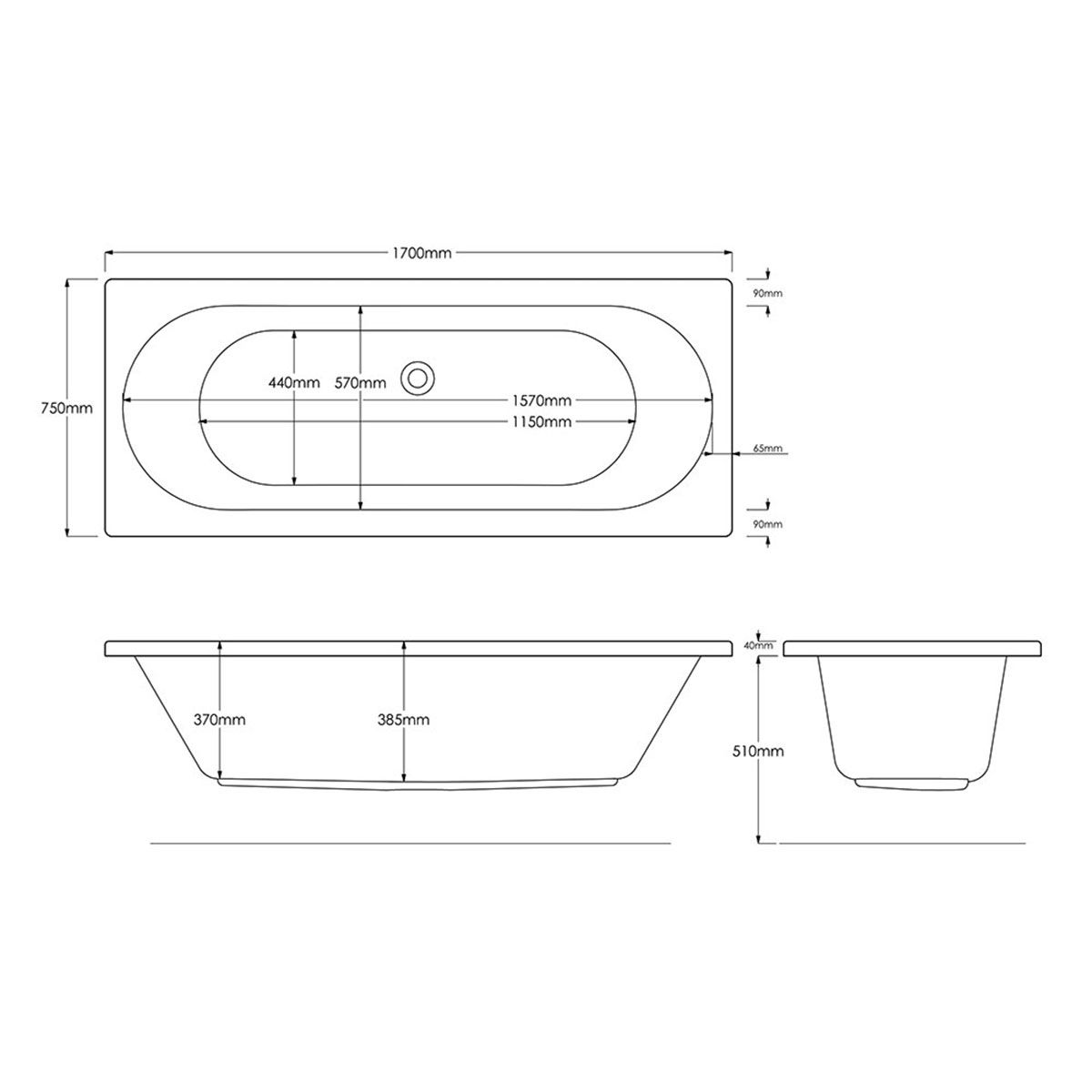 Trojan Cascade Reinforced Double Ended Bath 1700 x 750 Dimensions