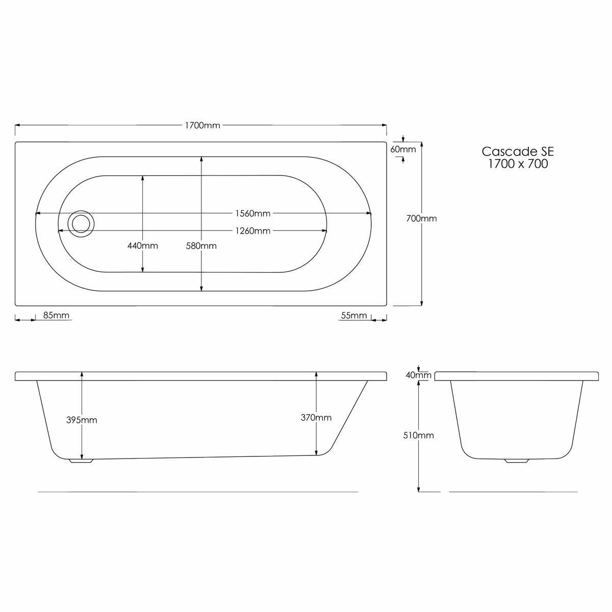 Trojan Cascade Single Ended Bath 1700 x 700 Dimensions