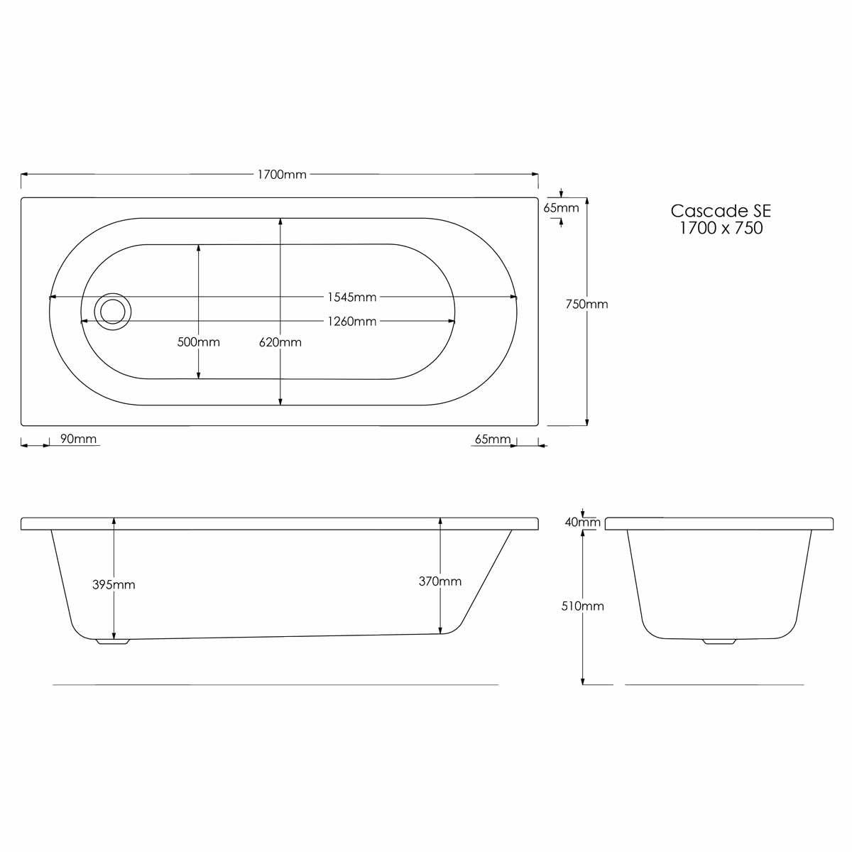 Trojan Cascade Reinforced Single Ended Bath 1700 x 750 Dimensions
