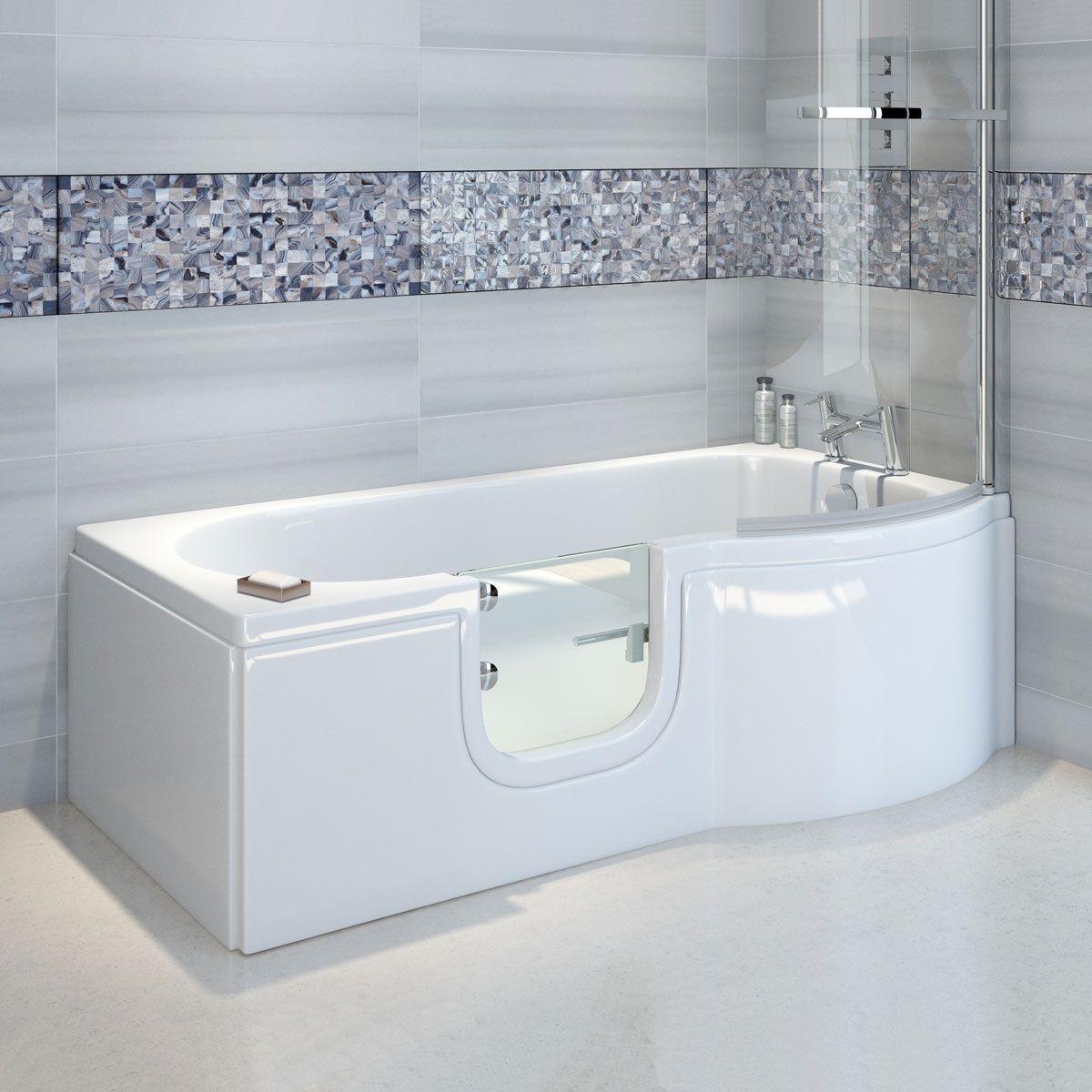 Trojan Bathe Easy P Shape Walk In Shower Bath 1675 X 850