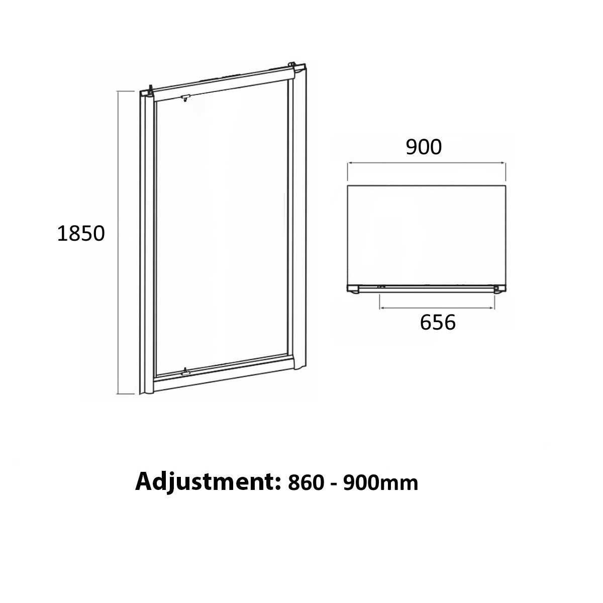 Coral 6mm Pivot Shower Door 900mm Dimensions 1