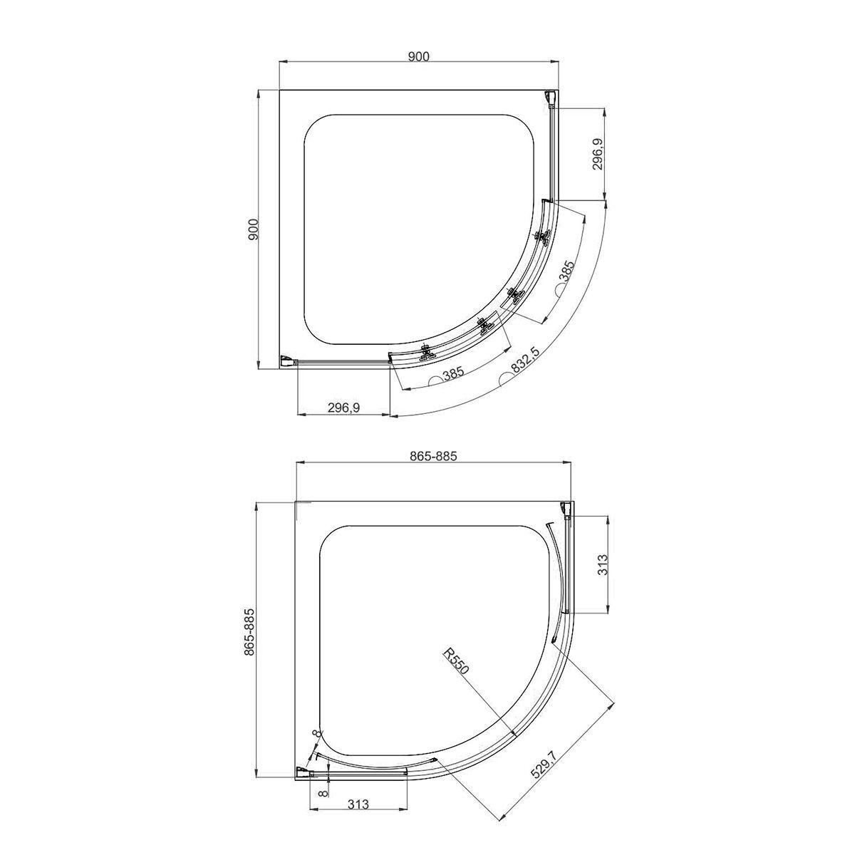 Coral 8mm Quadrant Shower Enclosure 900 x 900mm Dimensions 1