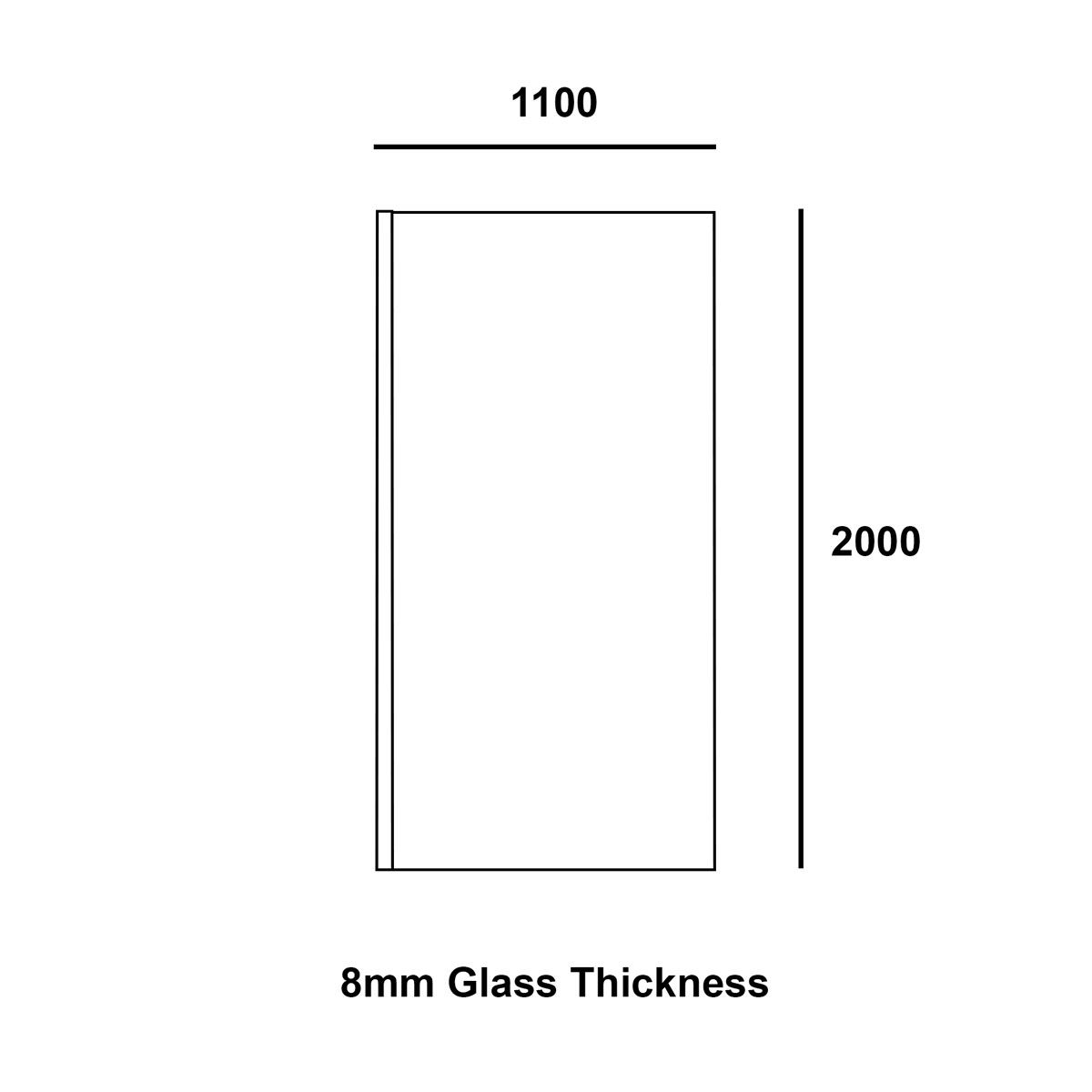 Coral 8mm Wet Room Glass Shower Panel 1100mm Dimensions