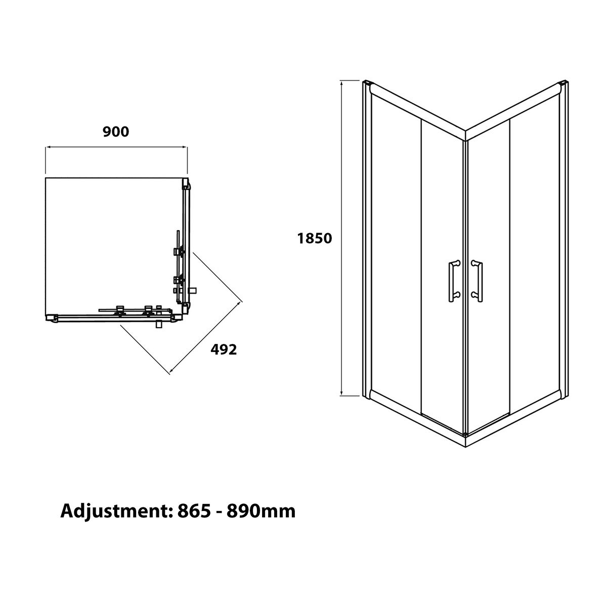 Coral 6mm Corner Entry Shower Enclosure 900 x 900mm Dimensions 1