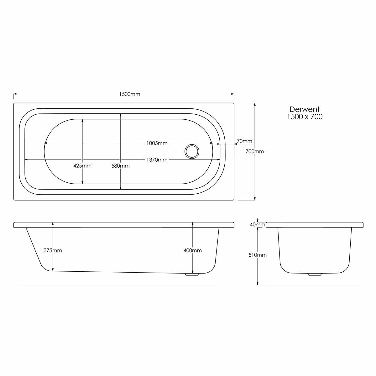 Trojan Derwent Reinforced Single Ended Bath 1500 x 700 with Grips Dimensions