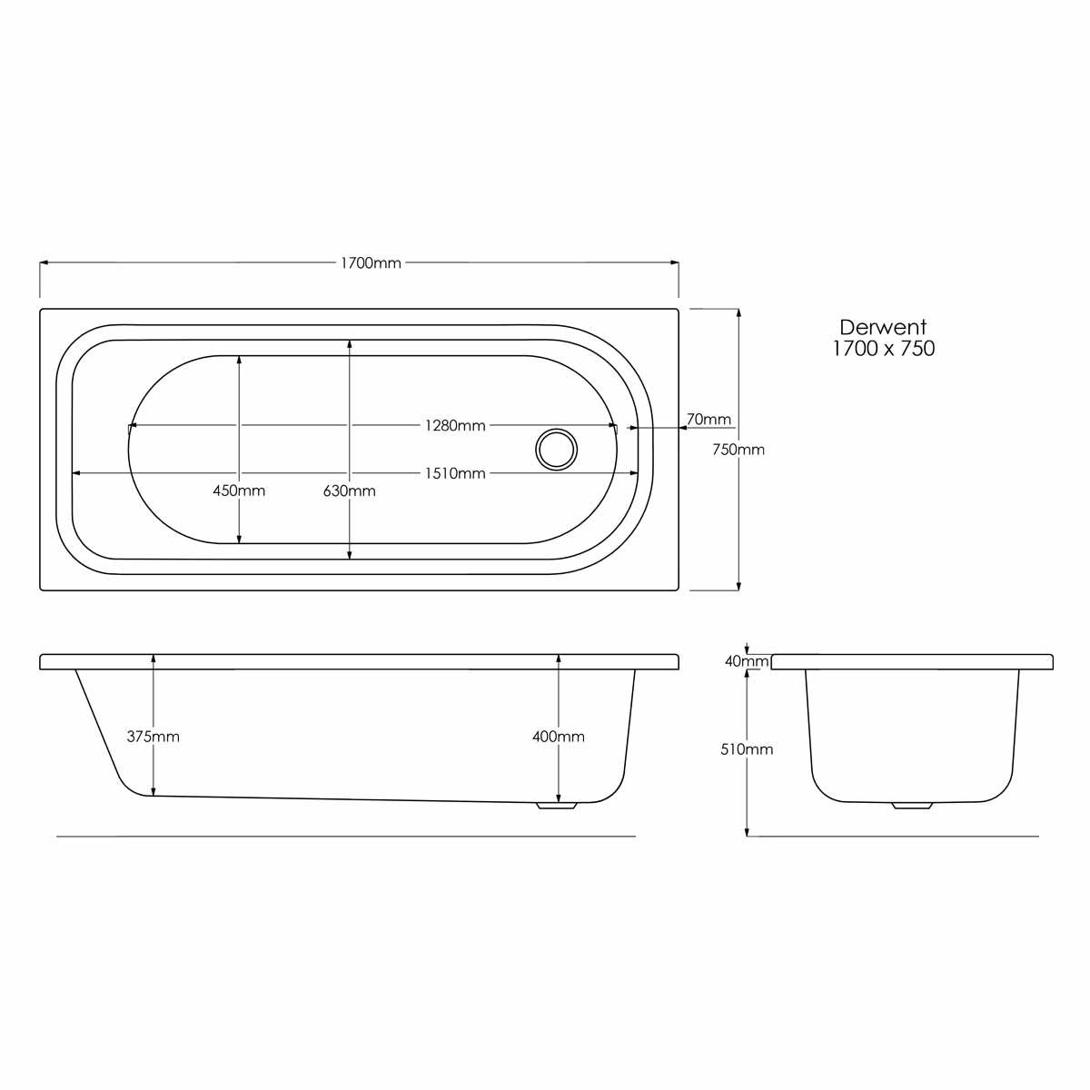 Trojan Derwent Reinforced Single Ended Bath 1700 x 750 with Grips Dimensions