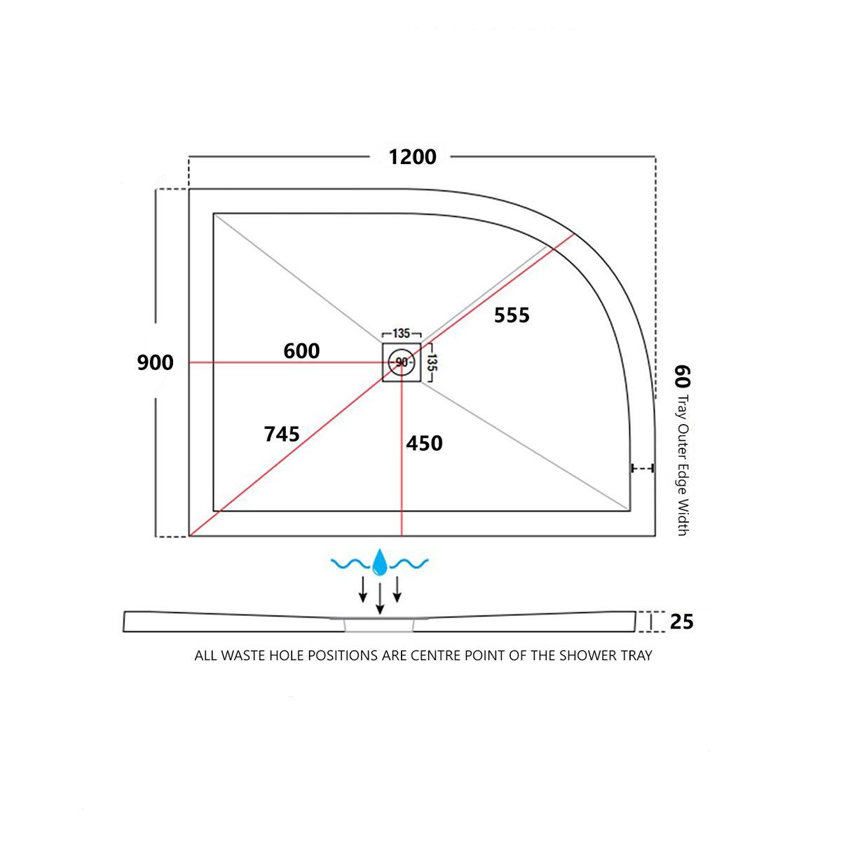 ultraslimoffsetquadrantshowertray1200x900withshowerwasterighthanddimensions