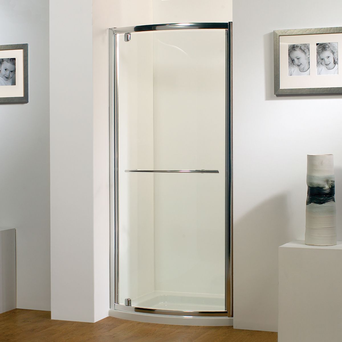 Kudos Original Bowed Pivot Shower Door 900mm With Concept 2 Shower Tray