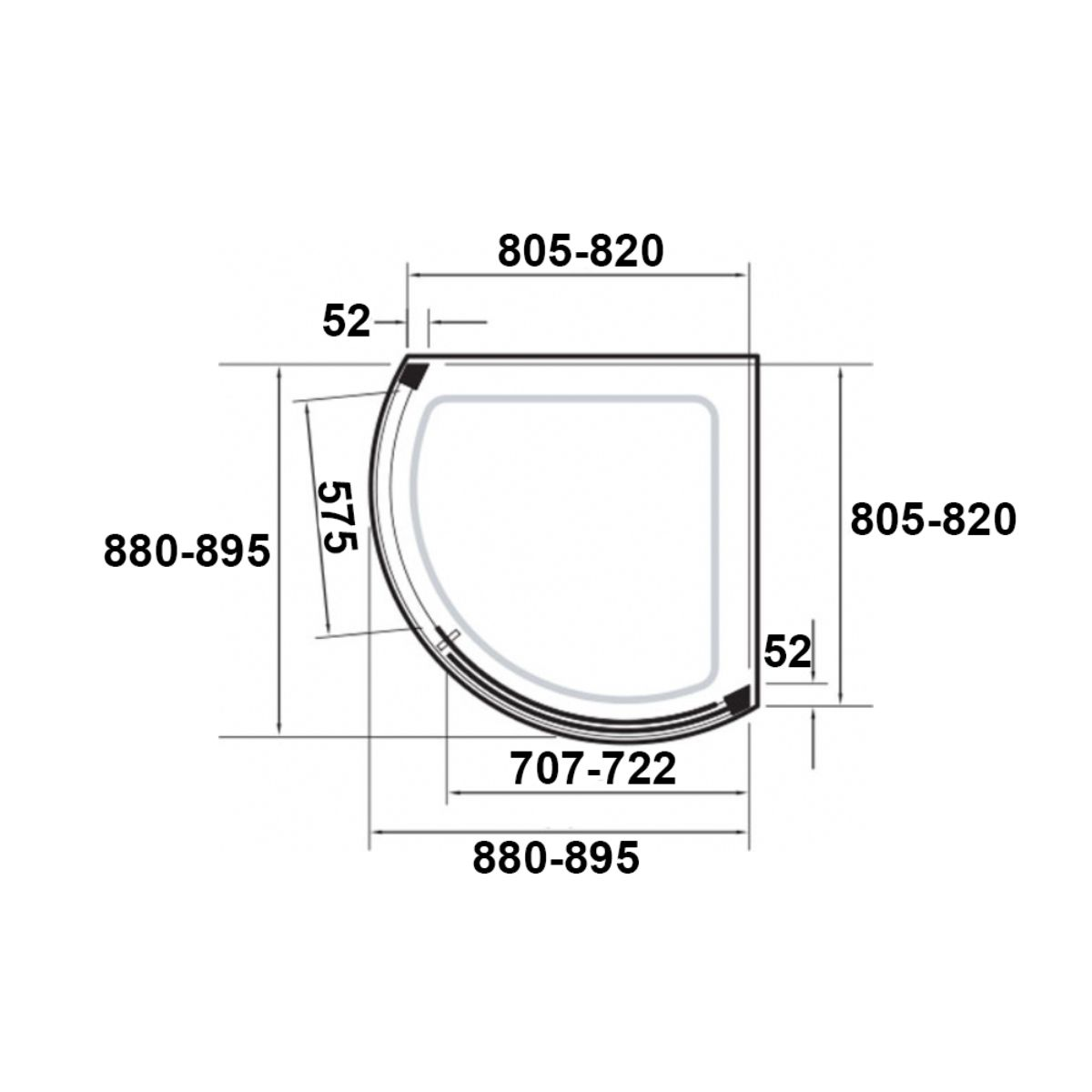 Kudos Original Curved Sliding Shower Enclosure Side Access 910 x 910 with Concept 2 Shower Tray Dimensions