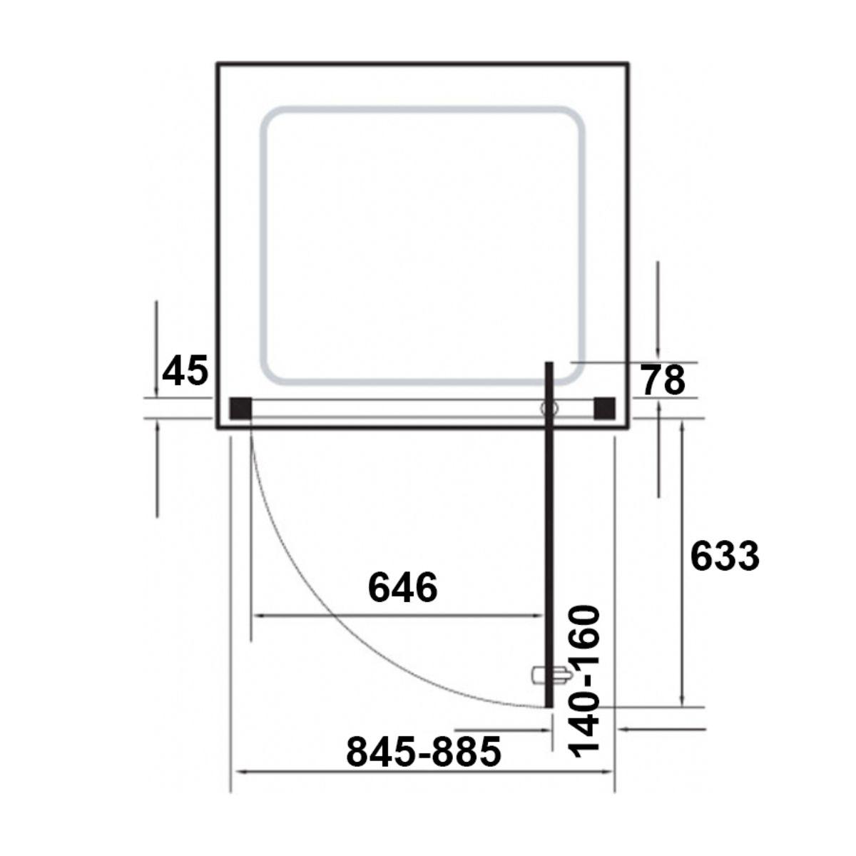Kudos Original Straight Pivot Shower Enclosure 900 Dimensions