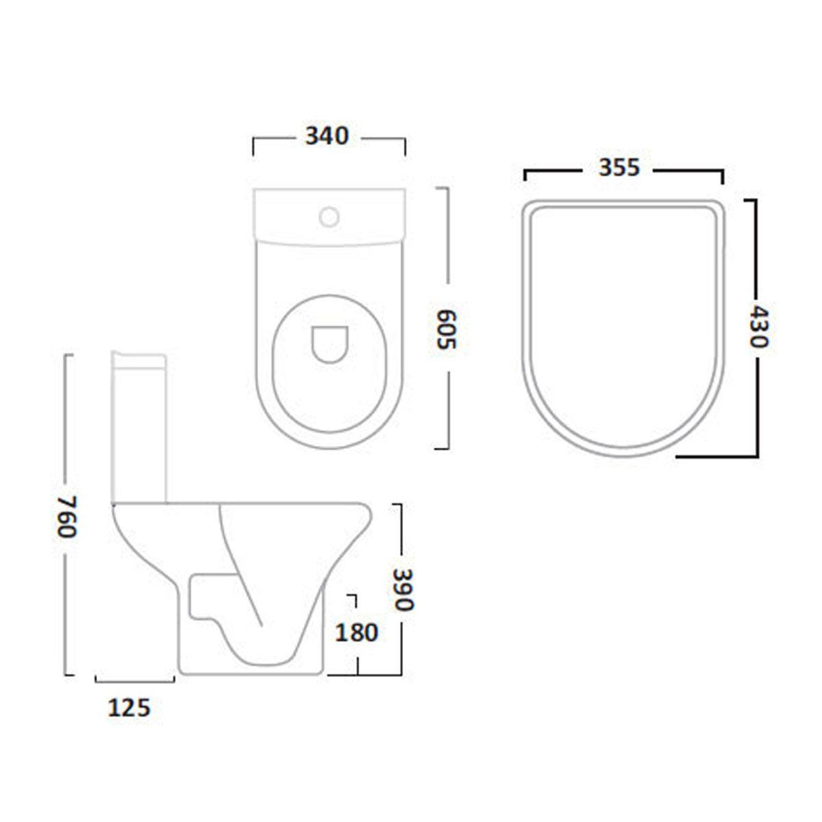 Tavistock Micra Close Coupled Toilet Inc Soft Close Seat Line Drawing