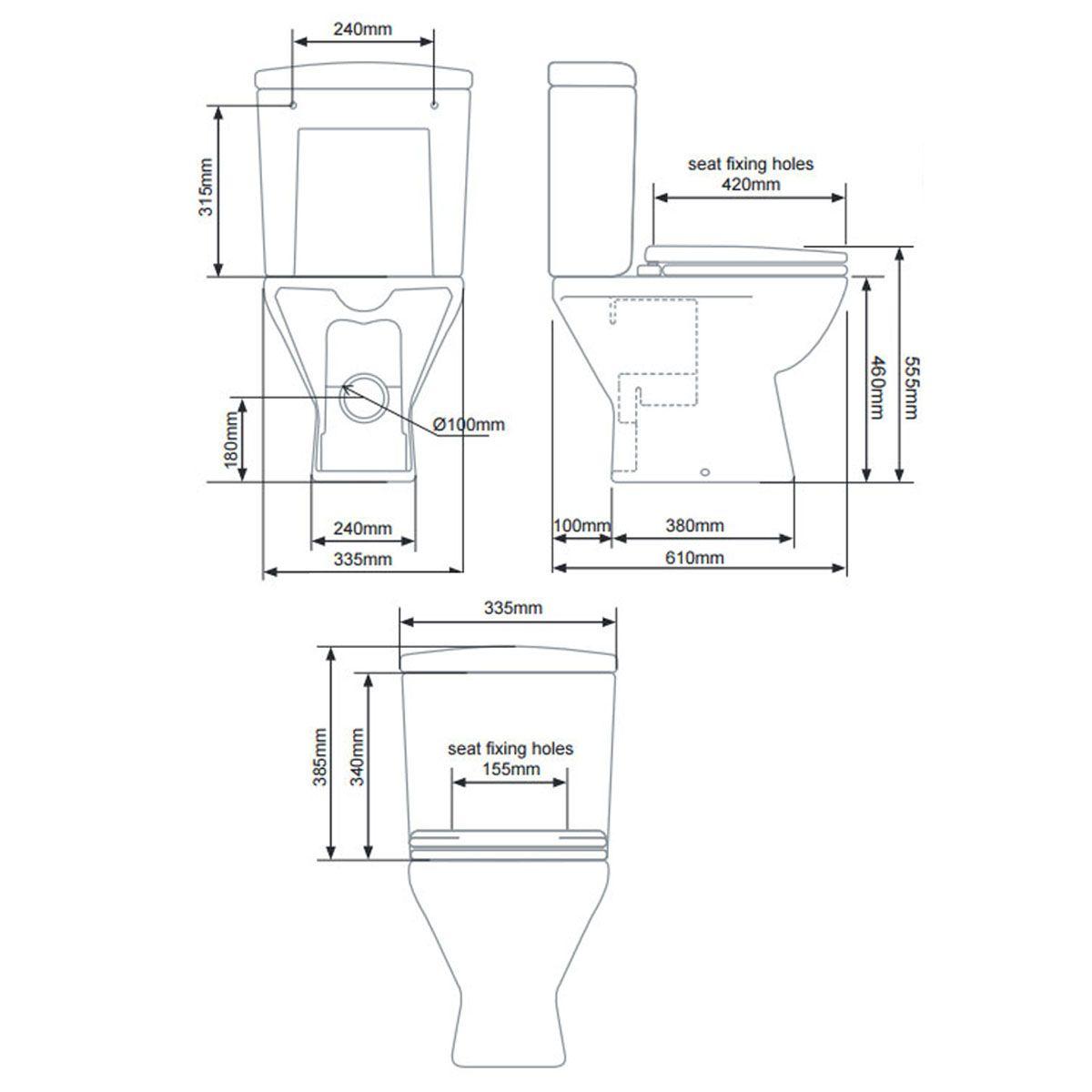 Tavistock Micra Comfort Height Close Coupled Suite Inc Soft Close Seat Line Drawing