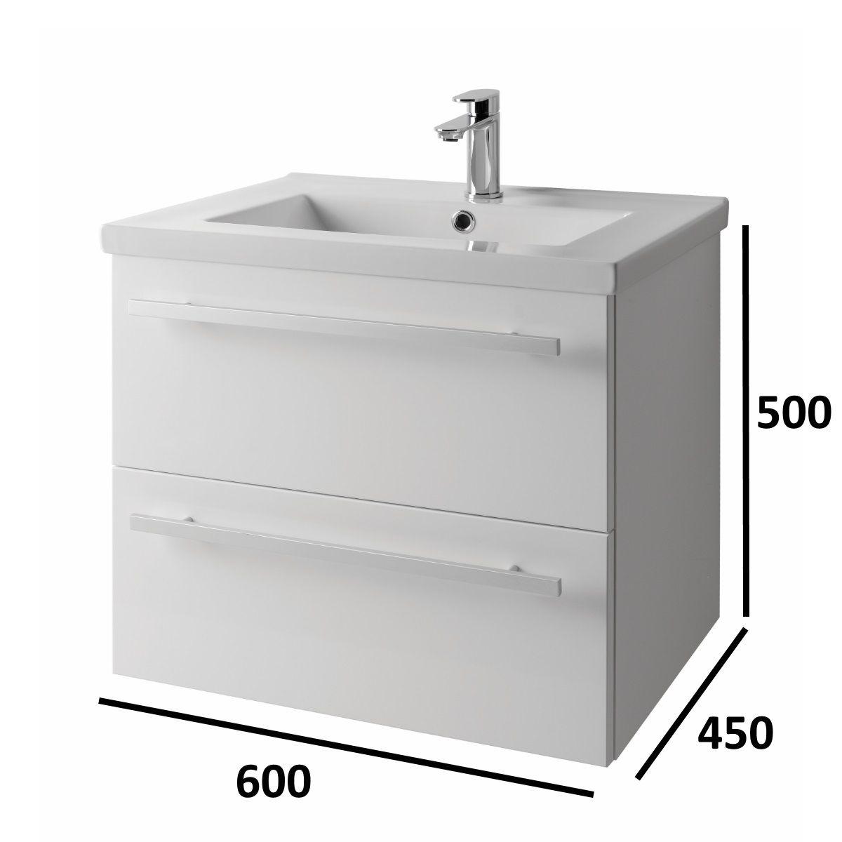 Wall Hung Vanity Unit Basin White 600mm