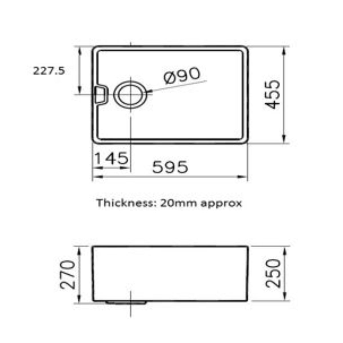 Reginox Belfast 1 Tap Hole Undermount Sink 595mm Dimensions
