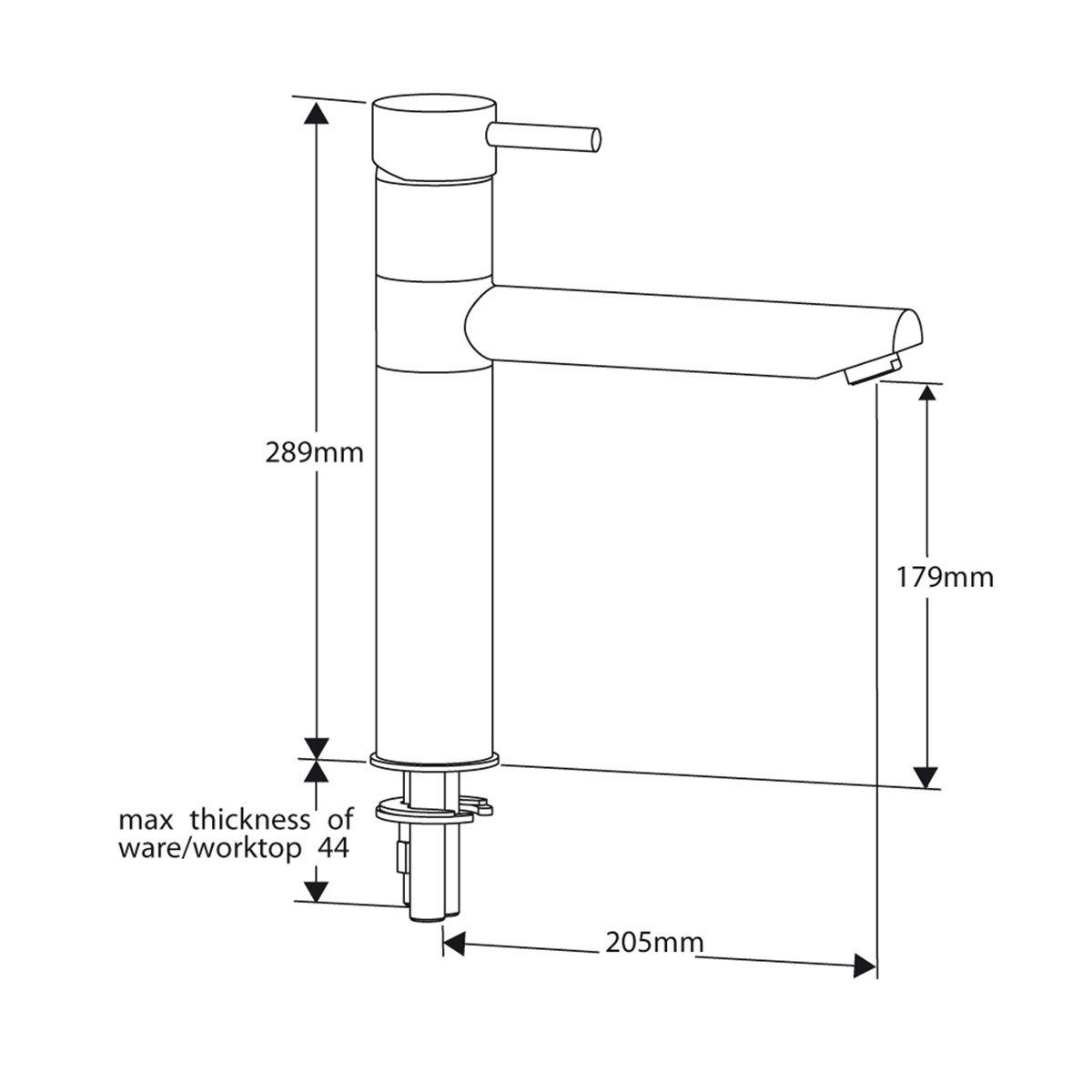 Reginox Hudson Kitchen Mixer Tap Chrome Dimensions