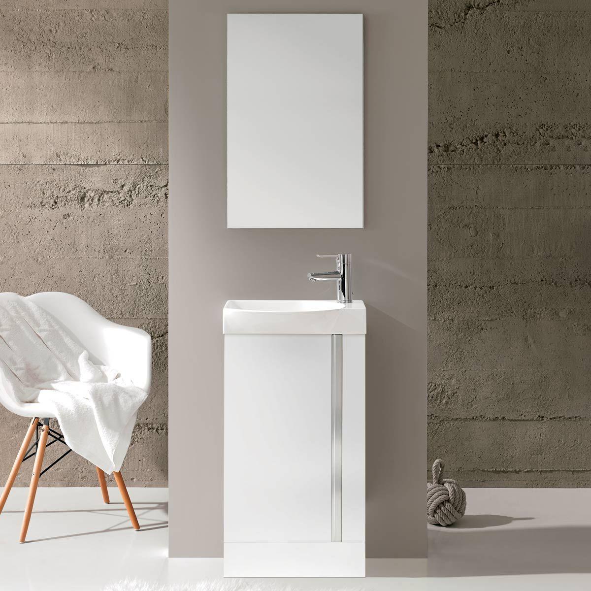 Royo Elegance Vanity Unit With Basin Amp Mirror White 450mm