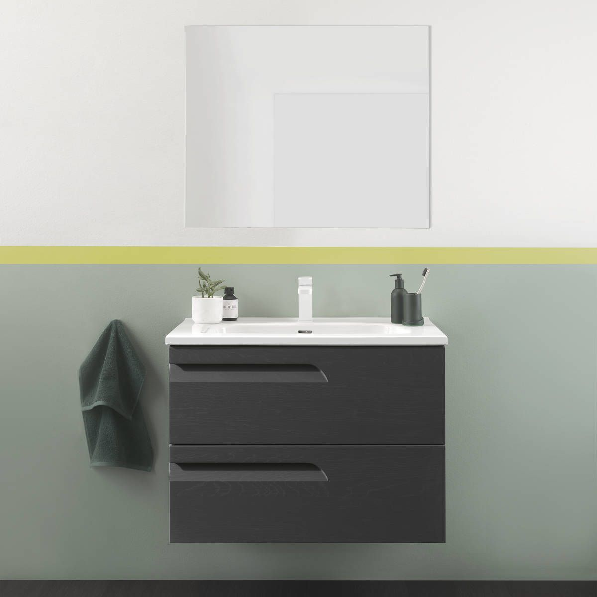 2 Drawer Wall Hung Vanity Unit Basin
