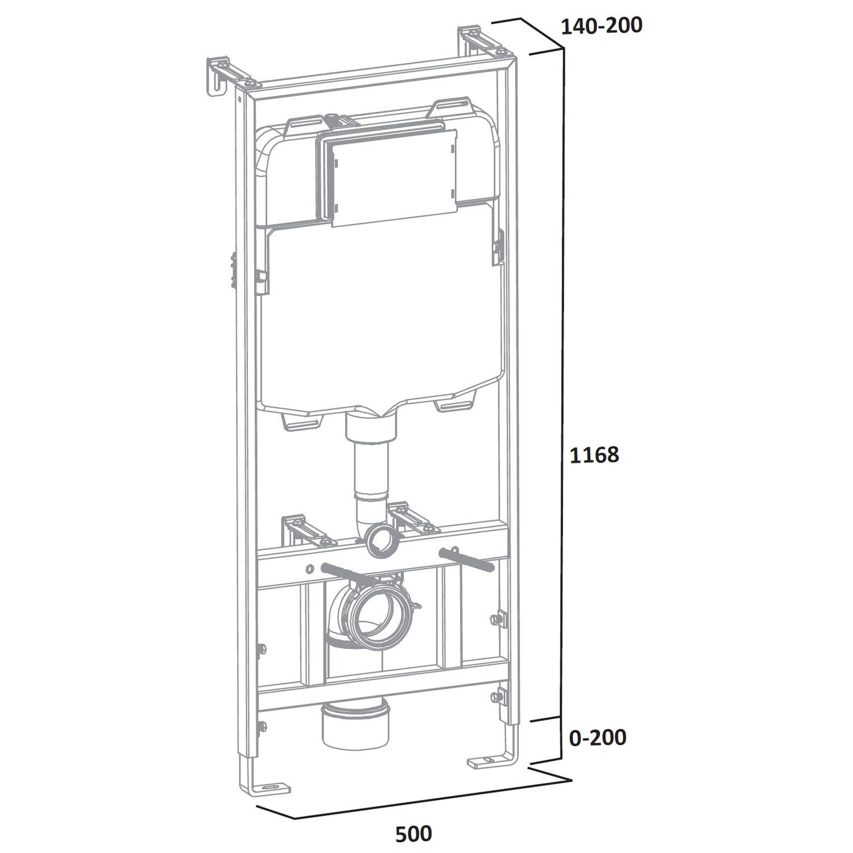 Tavistock 1.17M Wall Hung Toilet Frame WHF117 Line Drawing