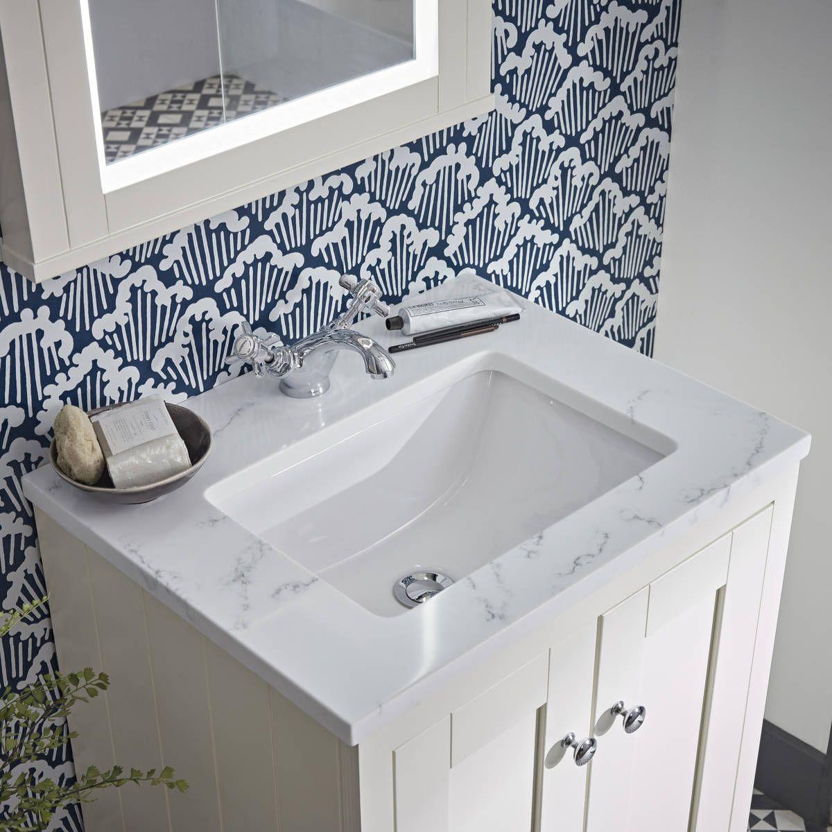 Vanity Unit With Carrara Marble Worktop