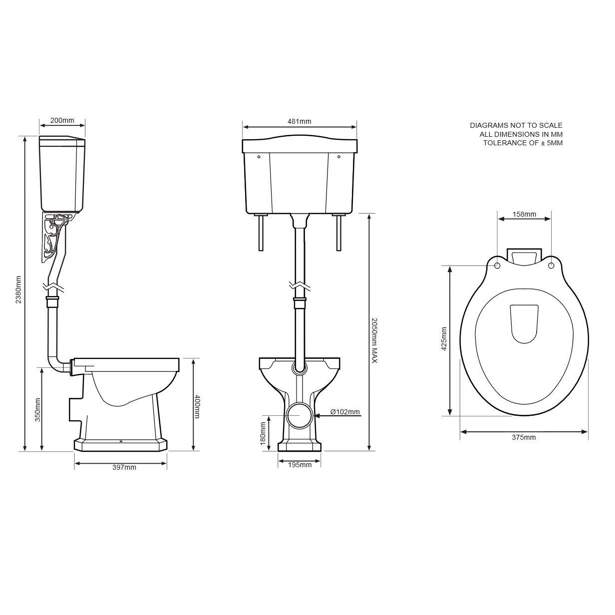 Tavistock Vitoria High Level Toilet Including White Soft Close Seat Line Drawing
