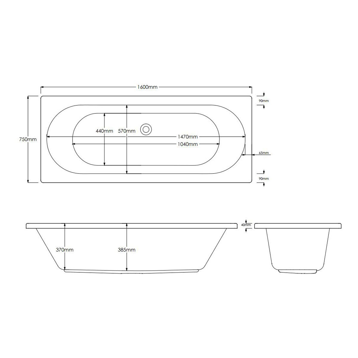 Trojan Cascade Double Ended 18 Jet Heated Air Spa Whirlpool Bath 1600 x 750 with Bath Waste Dimensions