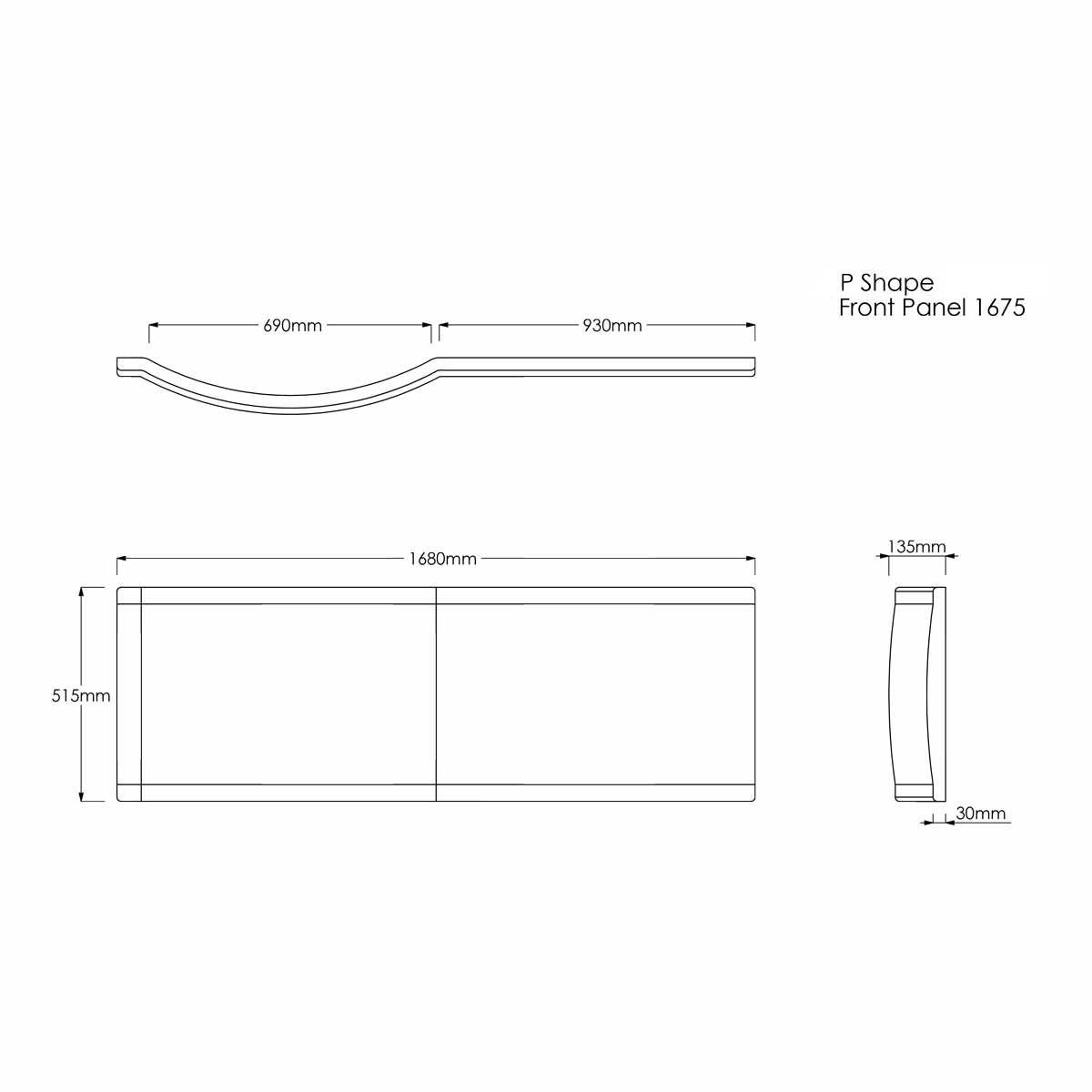 Concert P Shape Shower Bath Panel Dimensions