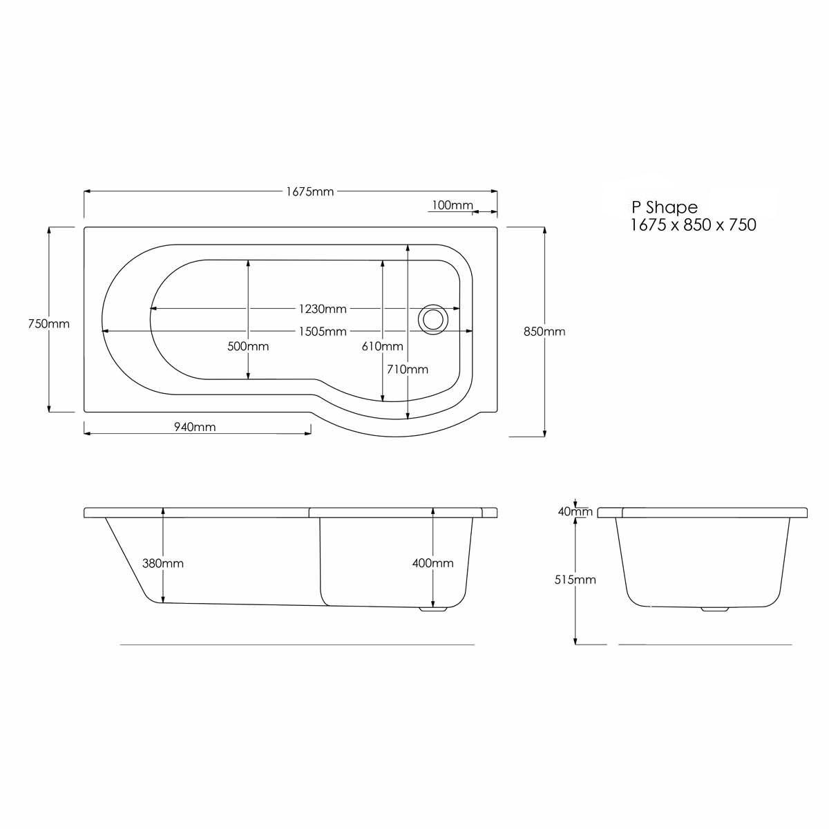Concert P Shape Shower Bath 1675 x 850 Left Hand Dimensions